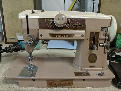 Vintage SINGER 401A Sewing Machine w/ Foot Pedal ~ POWERS ON: NEEDS TLC