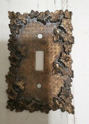 Vintage American Tack & Hardware Co Brass Light Switch Cover 1967 Foilage 75T