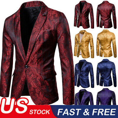 Luxury Men's Jacquard Suit Coat Casual Slim Formal One Button Blazer Jacket Tops