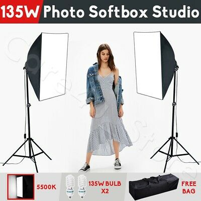 2x 135W Continuous Lighting Softbox Photography Studio Soft Box Light Stand Kit