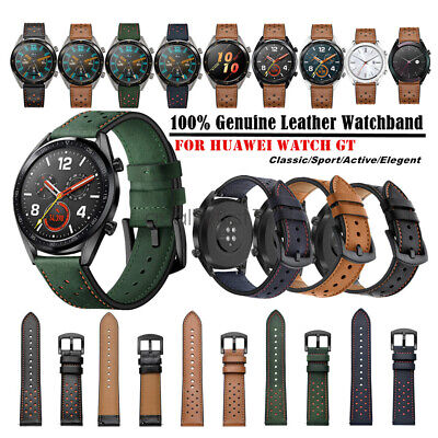 Replacement 22mm 100% Genuine Leather Wrist Watch Band Strap For Huawei Watch GT