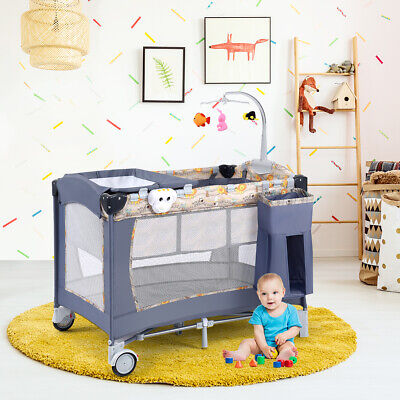 All In 1 Foldable Travel Cot Baby Crib Playpen Bassinet Portacot 4 Sides Mesh