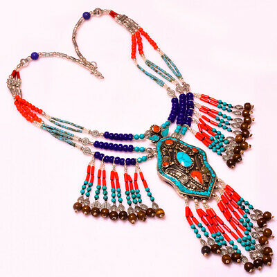 Adorable Lapis Lazuli With Turquoise & Red Coral Tibetan Jewelry Necklace 18""