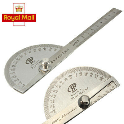 Stainless Steel 180° Protractor Round Head Rotary Angle Finder Arm Ruler Meter