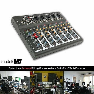 7 Channel Audio Mixer with USB DJ Sound Mixing Console 8V Amplifier for Karaoke