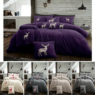 Luxury Duvet Cover Teddy Fleece Stag Embroidered Cosy Warm Soft Bedding Sets New