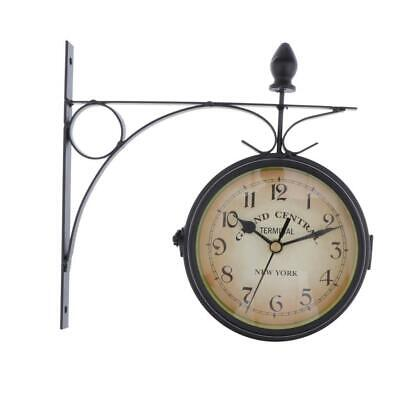 DOUBLE SIDED DUAL CLOCK STATION GARDEN OUTDOOR WALL MOUNTED -Black