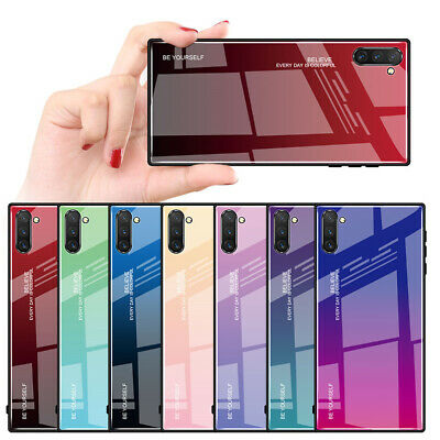 For Samsung Galaxy Note 10 Plus 9 Luxury Gradient Tempered Glass Hard Case Cover