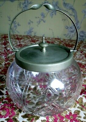 Vintage retro Cut Glass Ice Bucket Biscuit Barrel With EPNS Silver Plated Lid