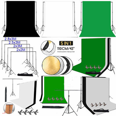 Photo Video Black White Green Screen Backdrop Background Support Stand Reflector