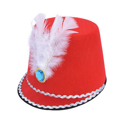 Red Soldier Military Hat With Feather Fancy Dress Toy Adult Majorette Drummer