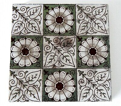 "Antique Victorian Minton Hollins  & Co 6"" x 6"" Tile Stoke on Trent #1"