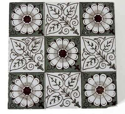 "Antique Victorian Minton Hollins  & Co 6"" x 6"" Tile Stoke on Trent #3"
