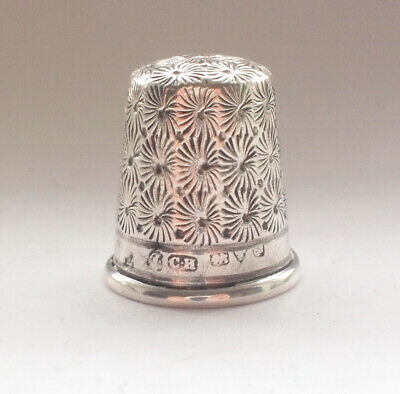 Stunning Antique Solid Sterling 925 Silver Hallmarked Engraved Thimble Retro 4g