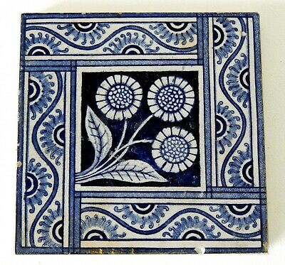 "Antique Victorian 6"" x 6"" Ceramic Glazed Tile Architectural Decorative #9"