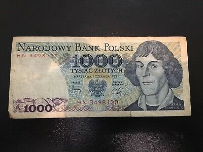 Poland 1000 Zlotych 1982 Banknote Circulated Condition HN3498120