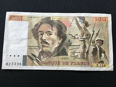 France French 100 Cent Francs Banknote 1987 X.119 Rare 923336 Circulated
