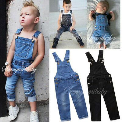 Kids Toddler Jeans Denim Jumpsuits Strappy Long Playsuits Trousers Boys Outfits