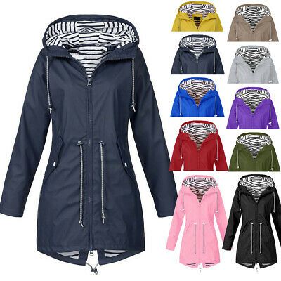 Women Rain Jacket Outdoor Plus Size Waterproof Hooded Windproof Loose Coat CA