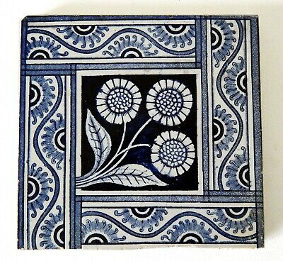 "Antique Victorian 6"" x 6"" Ceramic Glazed Tile Architectural Decorative #12"