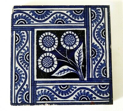 "Antique Victorian 6"" x 6"" Ceramic Glazed Tile Architectural Decorative #13"