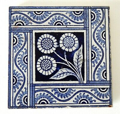 "Antique Victorian 6"" x 6"" Ceramic Glazed Tile Architectural Decorative #14"