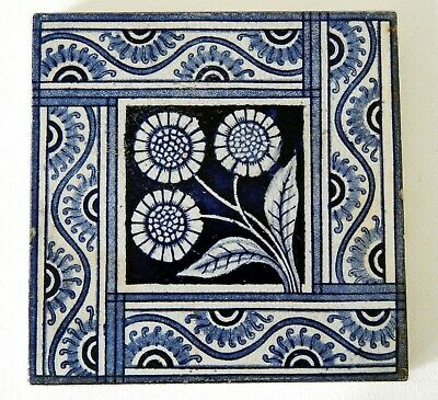 "Antique Victorian 6"" x 6"" Ceramic Glazed Tile Architectural Decorative #15"