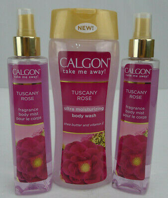 Lot 3 Calgon Tuscany Rose Fragrance Body Mist Ultra Moisturizing Wash Set