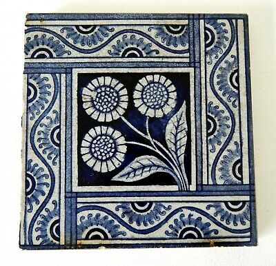 "Antique Victorian 6"" x 6"" Ceramic Glazed Tile Architectural Decorative #16"