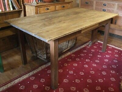 Antique oak and pine WORK TABLE simple kitchen sewing art table 5ft 6""