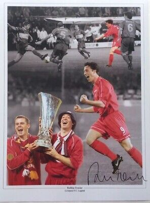 Robbie Fowler Liverpool Signed 12x16 Football Photograph AFTAL Dealer Proof Coa