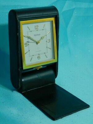 Jaeger LeCoultre Clock Hermes Leather Case 8 Day Travel Alarm 1950s (NJL016684)