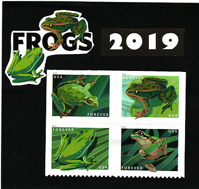 2019 Frogs (Block of 4 from Booklet Pane) 2019 Mint NH