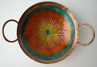 Gorgeous Vintage Mid Century Modern Sun Design Enamel on Copper Bowl w/ Handles