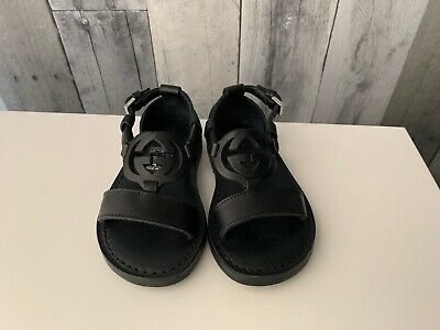 Gucci Vacchetta Aster Children's/Kids/Toddlers Black Leather Sandals Size 20