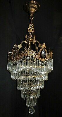 VTG FRENCH CAST BRASS WEDDING CAKE CRYSTAL CHANDELIER CEILING FIXTURE 1940's