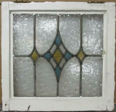 "OLD ENGLISH LEADED STAINED GLASS WINDOW Gorgeous Diamond Design 19.5"" x 19"""