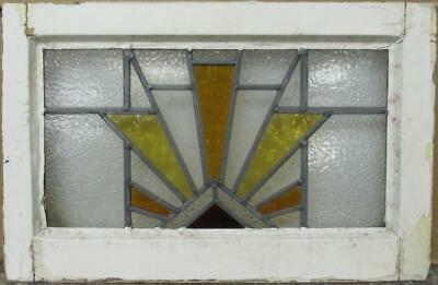 "OLD ENGLISH LEADED STAINED GLASS WINDOW Nice Geometric Sun Burst 20.25"" x 13.25"""