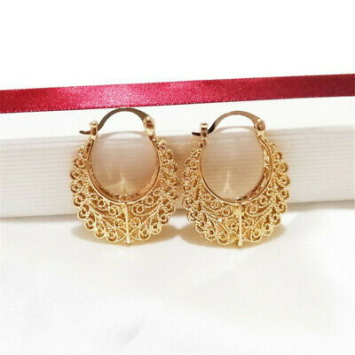 Rattan Cutout Hollow Stereoscopic Oval Earrings Dangler Party TwoPin charm
