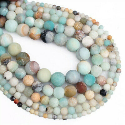 Natural Frosted Amazonite Loose Beads Making Jewelry 15 inches Accessories Diy