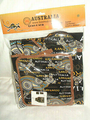 Seven Sisters Dreaming Oven Mitt and Pot Holder Set Aboriginal Design Athena