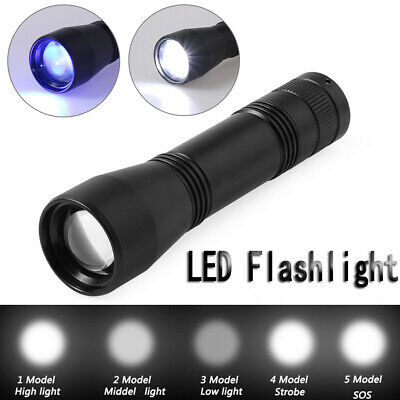 Zoomable  5 Mode  LED UV Flashlight Torch light 395nm Ultra Violet/White