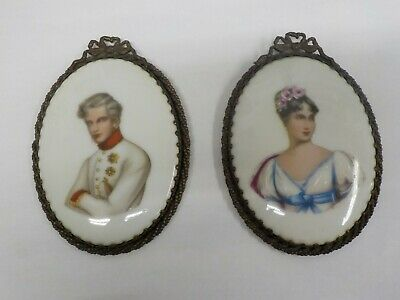 Pair of Antique Oval Hand-painted Porcelain European Plaques