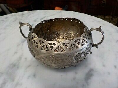 Antique Chinese Silver Ornate Double Earred Silver Bowl Animal Designs