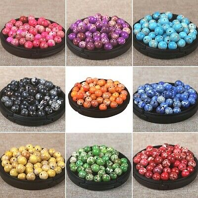 50x Artificial Stone Gemstone Round Spacer Loose Beads For Bracelet Jewelry 6mm