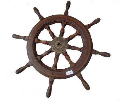 Real ANTIQUE ship's WOODEN & BRASS STEERING - HELM - LARGE - SHIP'S ORIGINAL