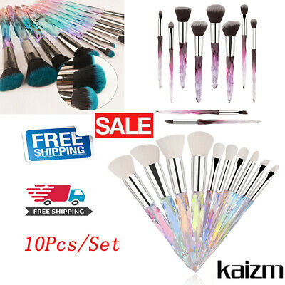 10Pcs Make Up Brushes Set Cosmetic Powder Foundation Crystal Handle Tool Hot New