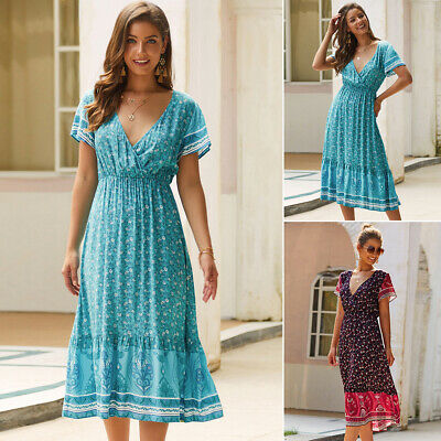 Womens Dress Ladies Beach Summer Baggy Sundress Dress Fashion Stitching
