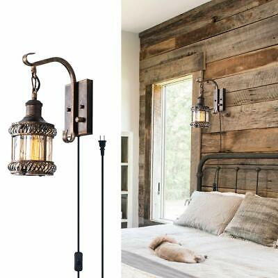 Retro 2-in-1 Oil Rubbed Bronze Wall Light Hardwired Plug in Metal Wall Schonces