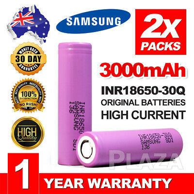 2x Genuine Samsung INR18650-30Q 3000mAh 15Amp HIGH CURRENT 18650 batteries